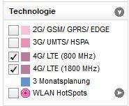 LTE-Verfügbarkeitskarte T-Mobile Filteroptionen