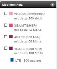 Die LTE-Verfügbarkeitskarte von T-Mobile mit dem geplanten Ausbau mit 1800-MHz